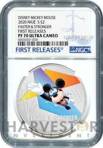 MICKEY MOUSE - SPORTS - SWIMMING - FASTER & STRONGER - NGC PF70 FIRST RELEASES