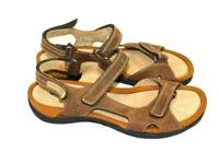 Ecco 41 10 10.5 Brown Leather Walking Sandals Ankle Straps Cork Footbed Flats