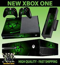 XBOX ONE CONSOLE STICKER GREEN BIO HAZARD DANGER STYLE SKIN & 2 PAD SKIN