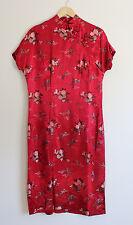 Vintage Chinese Burgundy Red Silk Floral Brocade Cheongsam Qipao Dress Size XL