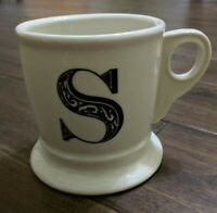 "Anthropologie White Coffee Tea Mug with ""S""  Monogram/Initial Black 4 1/2"" Tall"
