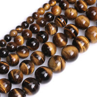 4 6 8 10MM Wholesale Natural Gemstone Tiger's Eye Round Spacer Loose Beads Stone