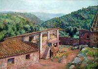 PAYSAGE DE LA GARROTXA. HUILE SUR TOILE. SIGNÉ M (MIQUEL) GISPERT. ESPAGNE. XXE