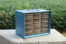 Vintage Akro Mils Small Parts Storage Metal Organizer Cabinet Bin 15 Drawers