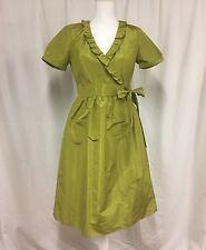 J. CREW  Sz 6 Silk Taffeta WRAP DRESS Chartreuse MINT