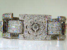 $80,000 VIDEO 18KT 20.00CT DIAMONDS ART DECO CLASSIC LINK CUFF BRACELET CLUSTER