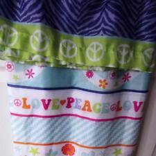 Mainstays Shower Curtain Hippie Groovy Peace Love Flowers Aqua Pink Purple