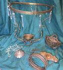 Vintage Ornate Solid Brass Hanging Kerosene Lamp Frame Parts