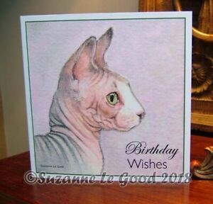 Sphynx cat painting art Birthday card original watercolour by Suzanne Le Good