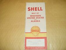 VINTAGE SHELL map of Western United States and Alaska - 1959