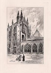 "WOW ORIGINAL Herbert RAILTON 1800s Etching ""Westminster Abbey"" Signed FRAMED COA"