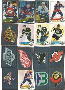 1995/96 Panini Stickers Lot Of 16 Inserts, Forsberg, Crests, Neely, Mullen mint