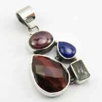 """Red Tiger's Eye, Multi Stone Pendant 1.7"""" 925 Sterling Silver Fashion Jewelry"""