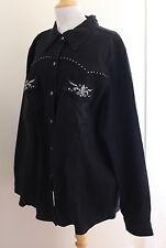 NWT Diane Gilman -Sz 3X Black Fleur De Lis Denim Distressed Shirt Jacket Artsy