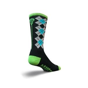 SockGuy Crew 8in Check Sticks Lacrosse Socks (Check Sticks Black - S/M)