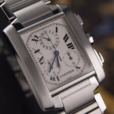AUTHENTIC CARTIER TANK FRANCAISE CHRONOGRAPH QUARTZ MENS WRIST WATCH