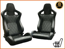 BB6 Reclining Bucket Seats Black / Diamond Stitch Alcantara Universal HEATED