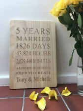 Engraved Wooden 5 Years Plaque(Large) - Personalised - Anniversary Gift