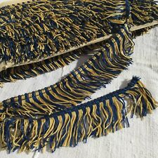 METRAGE GALON ANCIEN 10m Passementerie Frange Bleu Jaune ANTIQUE French Trimming
