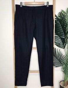 COS Navy Blue Wool Blend Pants Trousers Size 42 L Straight Leg Pockets Zip
