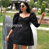ZARA NEW BLACK VOLUMINOUS MINI DRESS EMBROIDERED PUFF SLEEVE M REF: 3666/056
