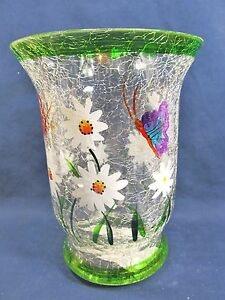 White Daisy candle holder sm pillar hand painted clear glass home decor