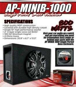 """New Audiopipe AP-MINIB-1000 10"""" 800 Watt Single Ported Bass Enclosure Black Loud"""