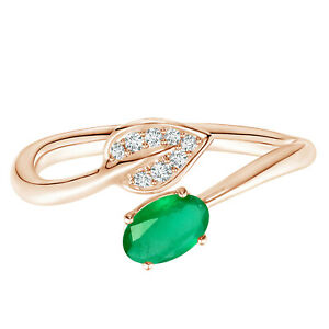 9K Rose Gold Nature Inspired Emerald Bypass Ring With Simulated Diamond