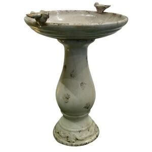 Alpine Corporation Pedestal Birdbath Ceramic 2-Bird Figurines Antique Brown