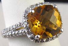 14k White Gold GOLDEN TOPAZ DIAMOND HALO Ring Size 6.75