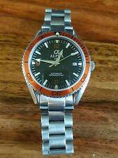 MENS ALPHA PLANET OCEAN WATCH AUTOMATIC STAINLESS STEEL ORANGE BEZEL