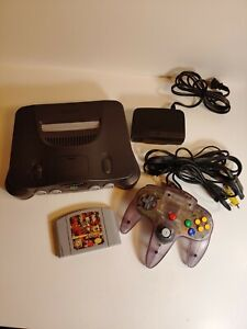 Nintendo 64 Video Game Console with Atmic Purple Controller & WWF Attitude Game