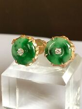 Green Jade And Diamonds In 18k Gold Earrings
