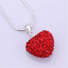 Fashion Women Pendant Jewelry Crystal red Heart Silver Plated Necklace+Chain