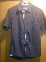 Lon-NYC Men's Spread Collar Short Sleeve Single Pocket Printed Button Down Shirt