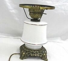 """Accurate Casting Company Lamp 11""""X 6"""" White Glass Gold Detail Works Key Vintage"""