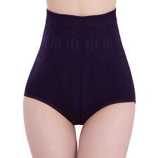 Women Solid High Waist Brief Girdle Body Shaper Slim Tummy Pants Underwear JDUK Purple