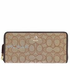 New Coach F54633 Accordion Zip Wallet In Outline Signature Brown NWT