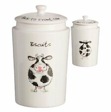 Price & Kensington BACK TO FRONT BISCUIT CANISTER Ceramic Cookie Jar COW Farm