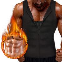 Plus Men Waist Trainer Tummy Girdle Vest Neoprene Sauna Sweat Zipper Body Shaper