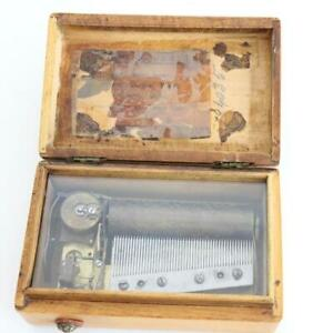 MINIATURE ANTIQUE CYLINDER MUSIC BOX - 4 AIRS satinwood case WORKS clock work