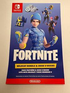 Fortnite Wildcat Bundle 2000 V-Bucks (Nintendo Switch USA CODE) Mailed Code Only
