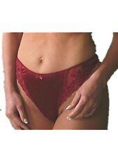 Ladies Underwear Lingerie Thongs Satin Burgundy Lace Thong UK Size 12 Knickers