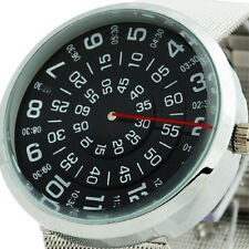 Cool Rotate Dial Unisex Quartz Wrist Watch Men Women Steel Case Luxury Relogios