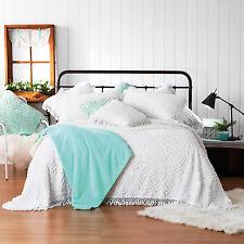 Bianca Kalia Soft Cotton Chenille Bedspread Set White