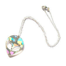 90s HOLOGRAPHIC ALIEN Acrylic Pendant Choker Silver Chain Necklace