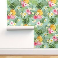 Removable Water-Activated Wallpaper Tropical, Pineapples, Hawaiian, Fruit,