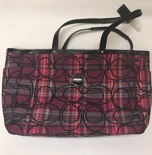 "Coach Poppy Tartan Plaid Glamour Glitter Tote Bag Purse F15464 15"" 12"" 6"" EUC"