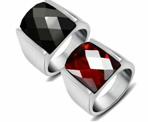 Vintage Top Quality Red Black Jewelry Rings Never Fade  Steel Brand Big Crystal