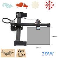 20W Laser Engraving Machine Desktop Engraver Printer Art Craft 110-240V Cutter